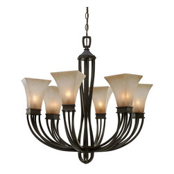 Golden Lighting - Genesis Chandelier - Does your foyer need a little extra oomph? Does your dining table lack drama? The graceful arms and quartz-textured glass shades of this chandelier will do your dining experience justice.
