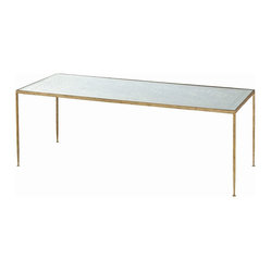 Arteriors - Worthington Coffee Table - A glass table top gets a chic makeover with this sleek piece — a de rigueur addition to your modern home. The mirrored surface is marbleized dramatically, then paired with a slim, hammered iron frame with a gold leaf finish.