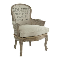 Aidan Gray Grain Sack Occasional Chair - This chair combines two trends I've written about here on Houzz – using burlap around the house for texture and the French Flea Market look. It's a comfy and clasic Bergere chair with an eclectic upholstery job (from feed bags).
