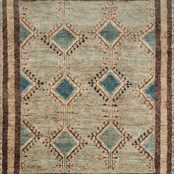 """Loloi Rugs - Loloi Rugs Nomad Collection - Aqua/Beige, 2'-0"""" x 3'-0"""" - Featuring rich colors, ethnic patterns, and an earthy 100% jute fiber, the Nomad Collection from India pays homage to tribal design while updating the look for today's interiors. The thick, hand-knotted pile and bold design make for an eye-catching centerpiece in any room."""