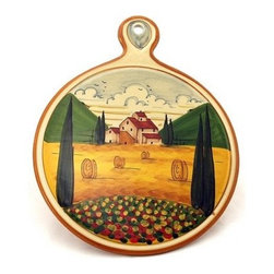 Artistica - Hand Made in Italy - Paesaggio Toscana: Old Fashion Round Trivet - Paesaggio Toscana: