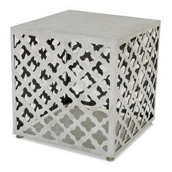 Allan Copley Designs - Allan Copley Designs Grenada Square End Table in Polished Cast Aluminum - The Grenada End Table by Allan Copley designs stuns with its intricate and meticulous detail and wows with its polished Cast aluminum finish. Suitable for indoor or outdoor use, this-Piece inspires its setting to be better than it has ever been.