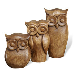 Interlude Home - Brenner Owl Trio - The best things in life are three! Like this hand carved trio of small, medium and large wood owl sculptures. Hoo-hoo-hoo could ask for more than this wise threesome, perched handsomely on the mantle or nesting alongside other treasures on a shelf or bookcase.