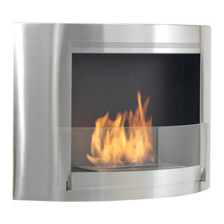 Eco-Feu - Olympia Wall Mounted Bio Ethanol Fireplace, Stainless Steel - The Olympia Ethanol Fireplace offers a sleek and stylish way to add real flame to your decor. Available in stainless steel or gloss white with a stainless interior, the slightly curved construction of this wall mount fireplace will work with any contemporary space. Olympia offers an eco-friendly flame that is odorless. Bio Ethanol, an alternative fuel source produced from plants, only emits water vapor and carbon dioxide into the air, therefore no chimney or flue is needed. Although ethanol fireplaces aren't intended for use as a primary heat source, the Olympia model by Eco Feu produces approximately 6,500 btu with the help of its stainless burner, which will change the noticeable temperature in a room of approximately 400-500 square feet. For aesthetic appeal and safety, this fireplace includes a pane of tempered glass that is situated in front of the flame. Appropriate for any living space, Olympia can be mounted on the wall using the included hardware.