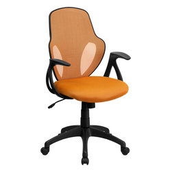 """Flash Furniture - Mid-Back Executive Orange Mesh Chair with Nylon Base - This ergonomically correct chair will give you the support that you need to complete a day's work. The contoured lumbar support along with the curved design of this chair makes it very appealing. This chair will make the perfect addition to spruce up your office space. Mid-Back Mesh Swivel Chair; Orange Mesh Back; Padded Mesh Upholstered Seat; Built-In Lumbar Support; Tilt Lock Mechanism; Tilt Tension Adjustment Knob; Pneumatic Seat Height Adjustment; Curved Nylon Arms; Heavy Duty Nylon Base; Dual Wheel Casters; CA117 Fire Retardant Foam; Overall dimensions: 25""""W x 26""""D x 38"""" - 41.75""""H"""