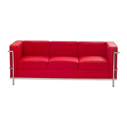 Modway Furniture - Modway Charles Petite Leather Sofa in Red - Petite Leather Sofa in Red belongs to Charles Collection by Modway Urban life has always a quandary for designers. While the torrent of external stimuli surrounds, the designer is vested with the task of introducing calm to the scene. From out of the surging wave of progress, the most talented can fashion a forcefield of tranquility. Perhaps the most telling aspect of the Charles series is how it painted the future world of progress. The coming technological era, like the externalized tubular steel frame, was intended to support and assist human endeavor. While the aesthetic rationalism of the padded leather seats foretold a period that would try to make sense of this growth. The result is an iconic sofa series that became the first to develop a new plan for modern living. If previous generations were interested in leaving the countryside for the cities, today it is very much the opposite. If given the choice, the younger generations would rather live freely while firmly seated in the clamorous heart of urbanism. The Charles series is the preferred choice for reception areas, living rooms, hotels, resorts, restaurants and other lounge spaces. Set Includes: One - Le Corbusier LC2 Sofa Sofa (1)