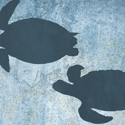 """One Red Buffalo - Pair of Sea Turtles, 30"""" X 20"""" - The perfect wall decor for coastal character with a bold, graphic silhouette of ocean wildlife on a subtle vintage ocean chart background."""