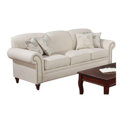 Coaster - Coaster Norah Antique Inspired Sofa with Nail Head Trim in Oatmeal - Coaster - Sofas - 502511 - This elegant sofa features a vintage inspired style that will add a touch of French laundry flair to your living room. Scalloped top tight back cushions create a contoured look, framed by beautiful rolled arms with classic nail head trim. Light linen upholstery is accented with throw pillows in butterfly and French script patterned fabric, creating just the right blend of modern of old-world.
