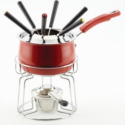 Rachael Ray Stainless Steel II Color 2 qt. Fondue Set - Red - Turn fondue into fun-do with the updated style of the Rachael Ray Stainless Steel II Color 2 qt. Fondue Set - Red. Because after all, who doesn't love melty cheese? This fondue pot set features a stylish design and everything you need to get your dipping on. It has a stainless steel construction, easy-grip handle, and bold red color. It also comes complete with fondue stand, six forks, fork holder, fuel holder, snuffer, and 2-quart fondue pan. Dishwasher-safe and oven-safe up to 350 degrees F, this set is the perfect way to make a meal or appetizer an active part of your evening dinner plans.About Rachael Ray Cookware and CutleryRachael Ray means fun, functional, colorful cookware and cutlery inspired and endorsed by the TV personality herself. Express yourself through your cookware with these truly unique pieces made with high-quality materials like cast iron and bright enamel exteriors. These hard-working pieces are perfect for all types of cooks, from casual home users to commercial chefs, and you'll love the way they look in your kitchen.