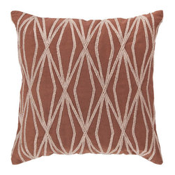 Surya Rugs - 22-Inch Square Sienna and Parchment Patterned Cotton Pillow Cover with Down Inse - - 22 x 22 100% Cotton Pillow Cover w/ Down Insert.   - For more than 35 years, Surya has been synonymous with high quality, innovation and luxury.   - Our designers have masterfully created some of the most cutting edge and versatile pieces to bring out the best in every room.   - Encompassing their expert understanding of the latest trends in fashion and interior design, each product is a perfect combination of color, pattern and texture to accommodate the widest range of tastes.   - With Surya, the best in design and quality is at your fingertips.   - Pantone: Sienna, Parchment.  - Made in India.   - Care Instructions: Spot Clean.   - Cover Material: 100% Cotton.   - Fill Material: Down. Surya Rugs - COM021-2222D
