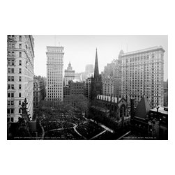 Skyscrapers Overshadow Trinity Church, New York Print - Sky scrapers overshadowing Trinity Church, New York. Photographed by the Detroit Publishing Co. in 1905. On glass negative in the 10 x 8 in. format.