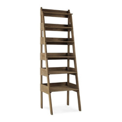 Ladder Bookcase - What better way is there to pass time on leisurely weekends than plopping down on your favorite leather chair and pulling a book off of the bookshelves. This wooden bookshelf is rustic and would use the height of any room quite wisely.