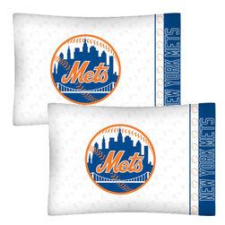 Store51 LLC - MLB New York Mets Baseball Set of 2 Logo Pillowcases - Features: