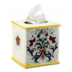 Artistica - Hand Made in Italy - Ricco Deruta: Square Tissues Box Cover - Ricco Deruta: Artistica's Ricco Deruta is the true original version of the most celebrated Deruta's design, which traces its origins to the sixteenth century.
