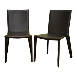 Wholesale Interiors - Baxton Studio Contemporary Dining & Accent Ch - Elsewhere you could pay this price for just one of these handsome European style chairs, but you get a pair in this remarkable Baxton Studio set.  Simply classic modern chairs are crafted from brown bonded leather stretched tightly over a strong sturdy steel frame.  Sleek and slender, these chairs have a slim and graceful silhouette.  They are ideal for dining, office, or anywhere you want to add affordable attractive seating. Steel frame. Brown bonded leather on seat, back, and legs. Matching brown stitching. Low-profile black plastic floor protectors. Bottom of seat is black. Assembly required. Seat Height: 17.5 in.. 18 in. W x 22 in. L x 34 in. H (30 lbs.)A blank canvas, unadorned and ready for your own personal touch, this chocolate brown bonded leather dining chair does double-duty as an accent chair or contemporary office furniture. Framing underneath the leather is done in sturdy steel, and small black plastic stoppers are attached to the bottom of each leg to help protect your flooring. Brown stitching on the edges of the leather matches the leather itself.