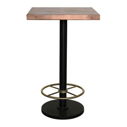 GILANI - Bistro Bar Table with Copper Top and Brass Footrest (Square) -