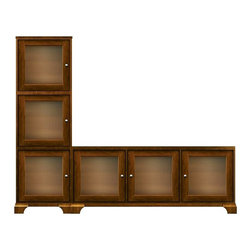 Howard Miller Custom - Hanna cabinet w 5 Doors in Saratoga Cherry - This cabinet is finished in Saratoga Cherry on select Hardwoods and Veneers, with Nickel hardware. Console:. 2 doors with ribbed Glass. 3 adjustable interior shelves. Tower:. 3 doors with ribbed Glass. 3 adjustable interior shelves. Flat profile top on console, flat profile top on tower, and cove profile base. Hardware: knobs on doors. Features soft-close doors and metal shelf clips. Simple assembly required. Console: 70 3/4 in. W x 16 in. D x 29 1/2 in. H. Tower: 24 1/2 in. W x 16 in. D x 77 1/4 in. H