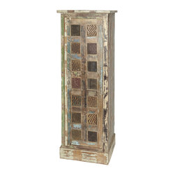 "Everybody's Ayurveda - Wooden Cabinet with Carved Panels - Wooden Cabinet with Carved Panels. Mango Wood. Made in India. 20 1/2"" Wide x 16 1/2"" Deep x 59"" Tall. This tall slender cabinet is perfect for storage in a small kitchen or nested next to a buffet in your dining area. Hand carved panels that have been hand painted with a distressed finish makes a beautiful piece. This Cabinet compliments our Wooden Trunk and Wooden Sideboard with Carved Panels."