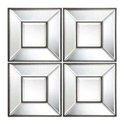 Cooper Classics - Cooper Classics Olivia Mirror- Set of 4, Aged Bronze - -Aged bronze finish
