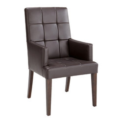 Sunpan - Rossi Armchair, Brown Leather - This classic armchair features a solid wood frame with a distinct square pattern on the seat and back. Stocked in grey, brown and ivory bonded leather with espresso finished legs.