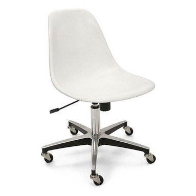 Modernica Rolling Base Side Shell Chair - The Case Study Fiberglass Rolling Chair is the classic office chair of choice. Modernica updated the vintage 4-star aluminum rolling base, with a contract-approved five-star base. The new five-star base surpasses the original design with an added weight-adjustable, tilt-control feature, which locks your chosen position in place. Also added is a fun to use, gas-lift height adjustment lever, for superfast height adjustments. The height is adjustable up to six-inches and the chair is easily tilted forward or back. The base rotates smoothly 360-degrees. Suitable for any corporate or home office space, this base has a five-year normal-wear guarantee.