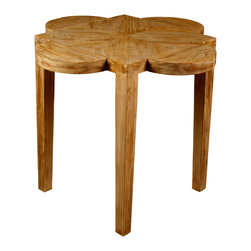 Quatre Feuille Side Table with a Medium Brown Wax Finish - A chair-side classic, the Quatre Feuille Side Table is an elegant accent surface with a scallop-sided top, constructed from genuine reclaimed lumber so cleverly joined that the grain of the wood itself complements the shape of the four-petaled flower design.  The unpretentious straight legs, which are made of the same material, culminate in the barb points of the top's flower.  An antiqued wash over all parts gives a handsome sense of weather to this desirable end table.
