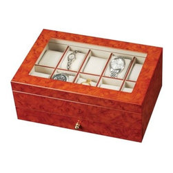 Peyton Wooden Watch Box - 11.6W x 4.75H in. - The Peyton Burlwood Oak Watch Box is a stunning case that features a glass-top window to display your watch or bracelet collection. Open the glass lid to the ivory-lined pillows to accommodate up to 10 watches. The full pull-out lower drawer is adorned by a gold-toned drawer pull and is sectioned to house more valuable pieces. This simple yet elegant case would be the perfect gift for him or her.