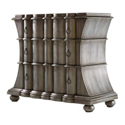 Hooker Furniture - Hooker Furniture Melange Scalloped Drawer Chest in Faux Zinc Finish - Hooker Furniture - Chests - 63885025 - Come closer to M��lange and you will discover something unexpected an eclectic blending of colors textures and materials in a vibrant collection of one-of-a-kind artistic pieces.