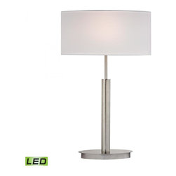 Dimond - One Light Pure White Fabric Shade Satin Nickle Table Lamp - One Light Pure White Fabric Shade Satin Nickle Table Lamp