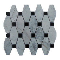 """GlassTileStore - Octave Pattern White Carrera With Black Dot Marble Tile - OCTAVE PATTERN WHITE CARRERA WITH BLACK DOT GLASS TILE  These hand-made window patterns are made from stone mosaics, each piece fits into the next like a perfect puzzle. Its stunning design and unique pattern of squares and oblong octagons will bring warmth and a natural ambience to your home.      Chip Size: 3 3/4"""" x 2""""  Dot: 3/4"""" x 3/4""""   Color: White Carrera, Black   Material: White Carrera, Black Absolute Marble   Finish: Polish   Sold by the Sheet - each sheet measures 12"""" x 11"""" (0.92 sq. ft.)   Thickness: 8mm    - Glass Tile -"""