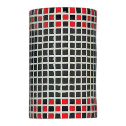 A19 - Checkers Wall Sconce Red and Black - Fun and funky, the Checkers Wall Sconce will transport you back to 1920s and 1930s, with its high gloss and appealing checker-board pattern.
