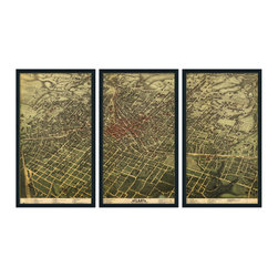 """Christopher David - Paris Artifact Map, 3-Panel Mural, Grey Metal Frame - Material: Wood or metal, glass Finish: Matte black wood or industrial grey metal Dimensions: 63""""W X 37""""H (approximate size of entire mural, without frame spacing)"""