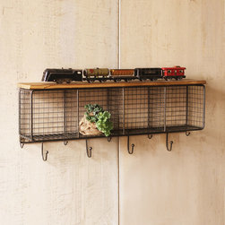 Wire Cubbies With Wood Shelf - Make a statement right in your entryway with this storage system. The Wire Cubbies and Wood Shelf come with bag and coat hooks and plenty of storage space for books, bags, and everything else that comes into the home with your arrival. Display treasured items and meaningful collections on the wood shelf.