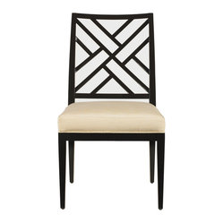 "Stanley Furniture - Continuum Fret Back Side Chair - Expertly crafted Chippendale fretwork provides the familiar feel of traditional design on the Fret Back Chair. Upholstered in Murali Ottaman Old Ivory fabric. Seat 20 5/8"" W X 19 1/4"" D X 19"" H Made to order in America."