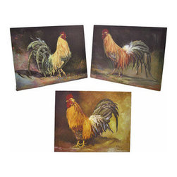 Set of 3 Rustic Country Rooster Canvas Wall Hangings - This set of 3 canvases is a wonderful addition to your country kitchen. Each wall hanging features a different rooster and measures 15 inches long, 12 inches tall, and 3/4 of an inch thick. They easily mount to the wall with a single nail by the picture hanger on the back of the wooden frame. This set looks wonderful in homes, diners, and restaurants, and makes a great housewarming gift.