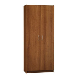Ameriwood Industries Inc - Ameriwood 72-in. Contemporary Double Door Pantry Cabinet in Cherry Multicolor - - Shop for Pantries from Hayneedle.com! Enjoy the beauty and practicality of the Ameriwood 72-in. Contemporary Double Door Pantry Cabinet in Cherry. Whether storing fine china or holiday decorations this pantry cabinet lets you customize your storage capability with two adjustable shelves and four fixed shelves. For extra strength Ameriwood 72-in. Contemporary Double Door Pantry Cabinet in Cherry is made with particle board an engineered wood that's durable and resists warping. Elegant brushed nickel handles and a beautiful cherry finish completes this piece making it the perfect solution to your organizing needs.About Ameriwood ProductsAmeriwood Industries is one of the leading manufacturers of wood products such as unassembled furniture stereo speaker cases and stereo component racks in the United States. For more than 30 years Ameriwood has helped furnish homes across North America with ready-to-assemble furniture. Crafted from engineered wood Ameriwood products are dense and durable for years of use.