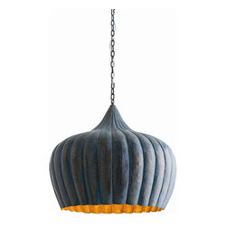 """Arteriors - Arteriors Home - Granville Pendant - 46745 - The solid brass pendant with its fluted groud shape and hand hammered surface texture is finished on the outside with an oxidized blue that will vary from piece to piece. The interior reflects the colaration of the brass. Features: Granville Collection Pendant 1 LightsWeathered Blue PatinaPolished Brass Interior Some Assembly Required. Dimensions: H: 22"""" x 25"""" Dia"""