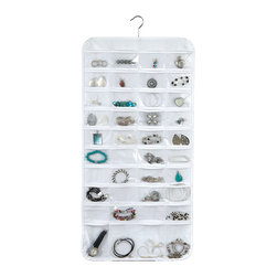 Richards Homewares - Clear 80-Pocket Vinyl Jewelry Organizer - Featuring 80 convenient pockets, this organizer keeps expensive wardrobe accessories neatly organized and accessible.   18'' W x 35'' H PVC / steel wire Imported