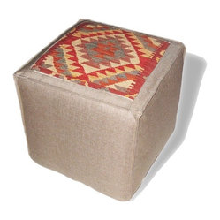 Loominary - Kilim Ottoman - Give your space a global perspective with this kilim ottoman. Then, sit back, prop your feet up and take a sip of your mint tea.