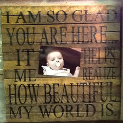 "Tobacco Lath Frame - ""Glad You Are Here"" - The Message: ""I'm so glad you are here it helps me realize how beautiful my world is."" This line features products that have been hand crafted. Small differences in shape, size, surface, and finish should be expected and lend individuality and charm to each piece."