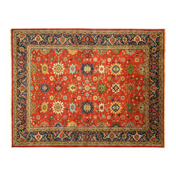 Manhattan Rugs - New Palace Size 12' X 15' Heriz Serapi Rust Navy Hand Knotted Wool Rug - H3327 - Heriz is situated in the northwestern part of iran (persia). though the term covers hand knotted rugs of numerous small villages in the area, the most beautiful rugs were woven in heriz itself. for the last 100 years, the heriz carpet designs have basically remained the same, with only small variations in color palettes and density of the design. the late 19th century rug (called serapis) was of fewer detail and softer colors, and with time designs became denser with added jewel tone color palettes. the revival of the carpet industry in the late 19th century was based on the demand of the western markets, with america in particular. weavers in heriz were asked to make carpets inspired by the fereghan sarouks of higher cost for consumers of more limited budgets. even though sarouk carpets changed style later on, heriz weavers stayed with the geometric patterns. however, heriz was also a center of production of some of the best handmade carpets with both geometric and curvilinear floral patterns. a special heirloom wash produces the subtle color variations that give these rugs their distinctive antique look.