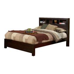 Alpine Furniture - Solana Queen Platform Bed with Bookcase Headboard - Solana Queen Platform Bed with Bookcase Headboard