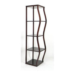 Wayborn - Raize B Display Shelving Unit - Raize B display unit makes a unique showcase for any collections, books, or objet d'art.  Asymmetrical four-tier ̩tag̬re can be used as a room divider and allows light to filter through with open and airy design.  Finely crafted from wood in rich mahogany finish. 4 Shelves. Wavy construction. Made from Birchwood. Smooth finish. 16 in. W x 16 in. D x 60 in. H (55 lbs.)