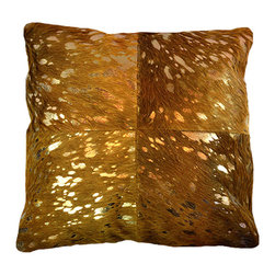 """BrandWave - Natural Cow Hide Pillows, 18"""" Square, Tan and Gold Foil - This beautiful collection of pillows is hand-made from some of the finest Indian cowhide. Each piece is a one-of-a-kind work of art. The material is all natural and selected individually for the perfect color and texture. India is a Hindu state, and cows are sacred. As cows die from natural causes, the Indian government collects the leather, and we are able to implement it into our products."""