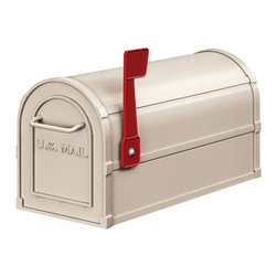 "Salsbury Industries - Heavy Duty Rural Mailbox - Beige - Made entirely of aluminum, Salsbury U.S.P.S. approved 4800 series heavy duty rural mailboxes feature a 1/8"" thick extruded aluminum body and a 1/8"" thick die cast aluminum front door and rear door cover.  Heavy duty rural mailboxes also feature a durable powder coated finish available in four (4) contemporary colors and include an adjustable red signal flag and a magnetic door catch.  The die cast door is attached to the body with a full width stainless steel hinge allowing for smooth operation.  Heavy duty rural mailboxes can be mounted on standard, classic, decorative, or deluxe mailbox post, spreaders or a base of your choice.  Rural mailboxes are approved for U.S.P.S. curbside mail delivery.  Heavy duty rural mailboxes are manufactured to USPS-STD-7B specifications.  Salsbury Industries is an ISO 9001:2008 certified company and has excelled in the field of manufacturing since 1936."