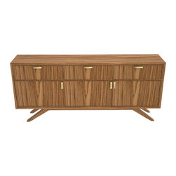 Seed Furniture - Prospect Heights - Take a look at our classic credenza, featuring walnut plywood casing, walnut doors and drawers, with brass handles detail.