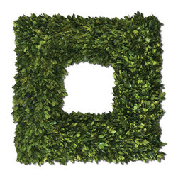 Uttermost - Uttermost Square Wreath Preserved Boxwood - Preserved while Freshly Picked, Natural Evergreen Foliage Looks and Feels like Living Boxwood.