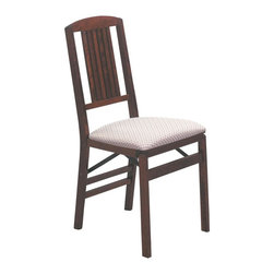 Stakmore - Simple Mission Folding Chair in Warm Cherry F - Mission-style lines are given functional, comfortable form with this set of 2 folding chairs. Each chair is made with solid wood and completed with a warm cherry finish. They have splayed legs for outstanding stability. Plus, they're appointed with padded, upholstered seats for added support. Set of 2. Six vertical slats coming down from an arched top rail. Steel folding mechanism. Padded upholstered seat. Folds up to 7 in. deep for storage. Made from solid hardwood. No assembly required. 19.25 in. W x 16.25 in. D x 34 in. H. Seat height: 18.75 in.
