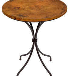 "Mathews & Company - Italia 36"" Counter Table with 30"" Round Top, Copper Top - The classic design of our Italia Counter Height Table will take you to a simpler place. Great in your kitchen, breakfast nook or rec-room, this table is the perfect place for a quiet cup of coffee alone or a simple meal with a friend. Enjoy the rustic look and feel of a fired copper, marble, old world pine, or zinc table top supported on the sleek, hand-wrought iron base.  This table is built with extraordinary attention to detail, from the perineum materials and finish to the inset foot pads and solid welded construction. With a 1.5"" thick top this table has a comfortable conversation height of 36-in. Dimensions: (length x width x height) Iron Base: 23"" x 23"" x 34.5""; Table Top: 30"" diameter x 1.5"" Thick; Table With Top: 30"" Diameter x 36"" High"