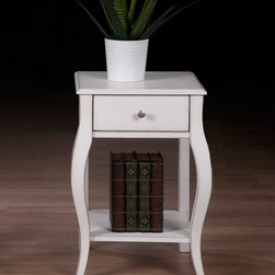 None - Alexandra Brush White 1-drawer Nightstand - With a distressed white finish and contemporary lines,this nightstand will add an intriguing update to any decor. This nightstand has a single drawer and a bottom shelf for added storage.